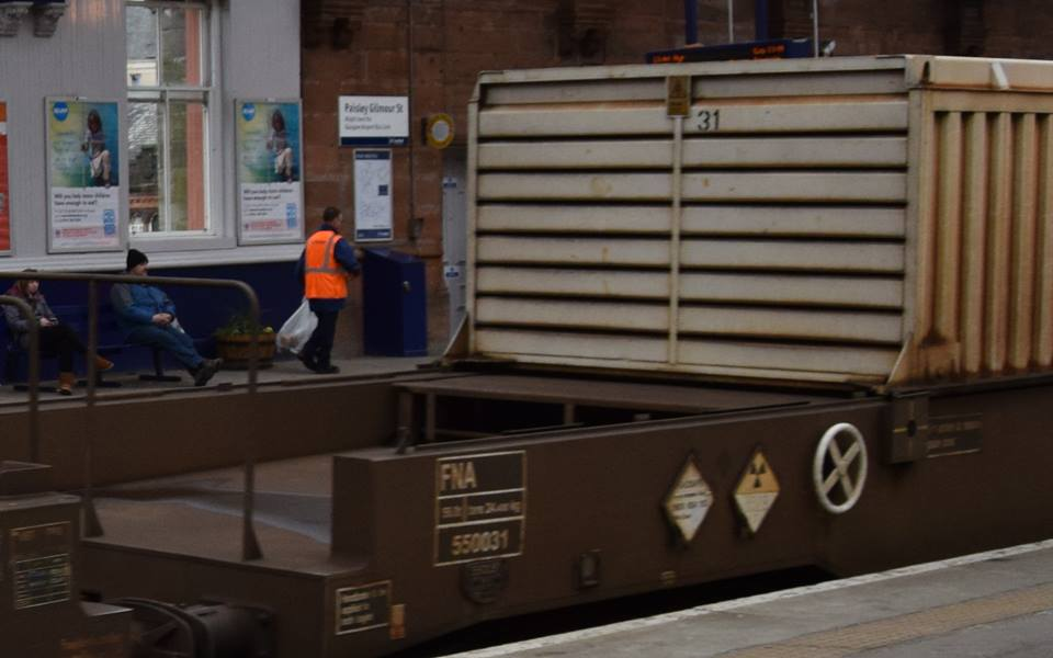 Nuclear flasks passing through Paisley Gilmour Street Station